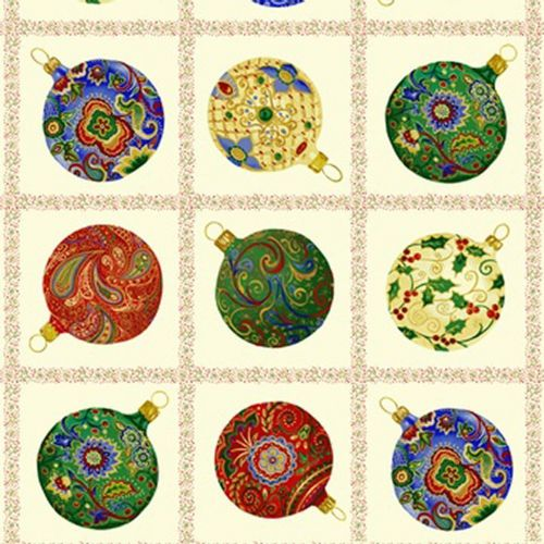 Blank Quilting - Christmas Baubles - Cotton Quilting Panel